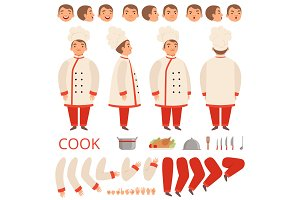 Cook animation. Chef characters body