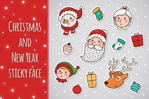Christmas and New year sticky face