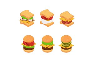 Vector isometric burger and sandwich
