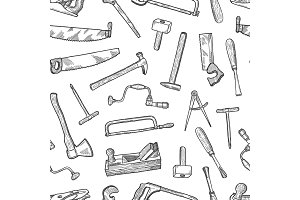 Vector hand drawn carpentry elements