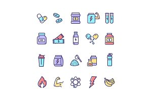 Nutrition Thin Line Icon Set