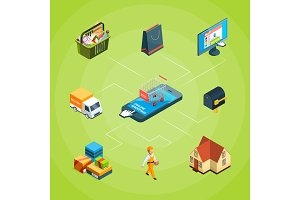 Vector isometric online shopping