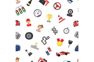 Vector flat car racing icons pattern
