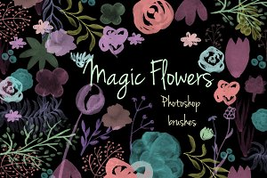 Magic flowers. Photoshop brush set