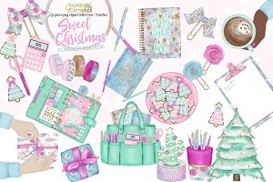 Pink Christmas planner clipart