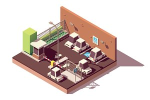 Vector isometric secure car parking