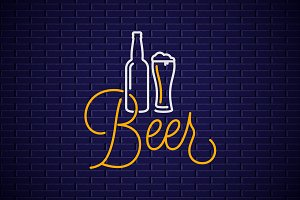 Beer neon banner.