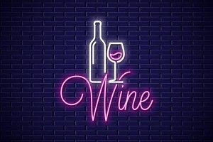 Wine neon banner.