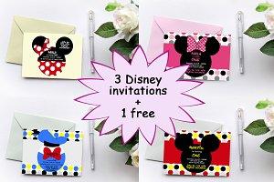 Pack Disney birthday invitations