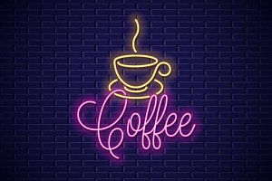 Coffee neon banner. Cup of coffee.