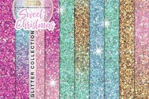 Christmas Unicorn Seamless Glitter