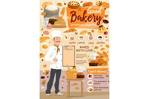 Bakery food, baker and pastry