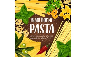 Traditional pasta with seasoning