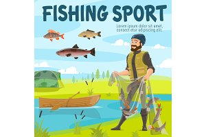 Fishing sport fisher and fish