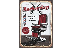 Barbershop chair and scissors