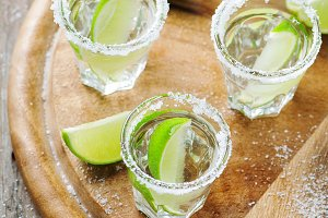 Silver mexican tequila