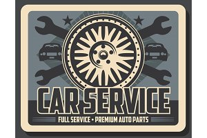 Car service, wrenches and tire