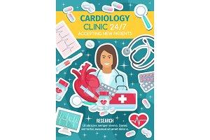 Cardiologist doctor, cardiology kit