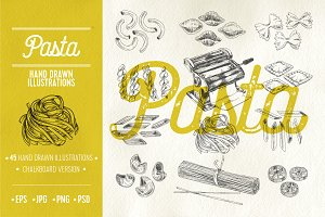 Hand drawn pasta illustrations