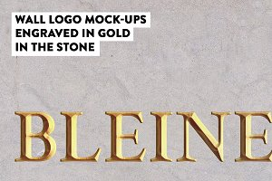 Logo mockup engraved gold wall stone