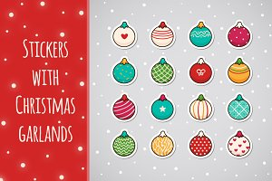 Stickers with Christmas garlands