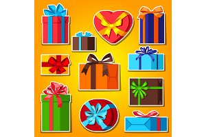 Celebration icon set of gift boxes.