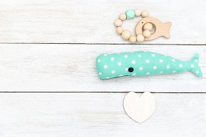 Handmade whale toy and wooden rattle