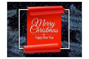 Christmas banner and Christmas tree
