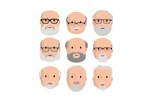 Old Men Male Human Face Head Hair