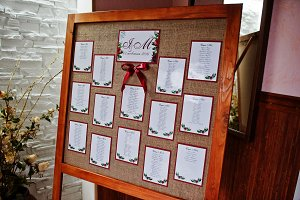Wedding wooden board with guest list