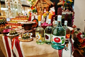 Alcohol bottles on wedding banquet t