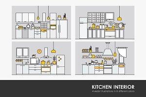 Kitchens full of modern furniture