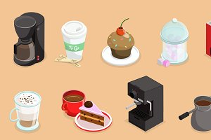 Isometric Coffee Elements Set