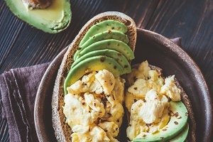 Sandwiches with avocado and scramble