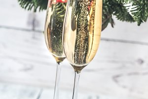 Glasses of champagne with Christmas