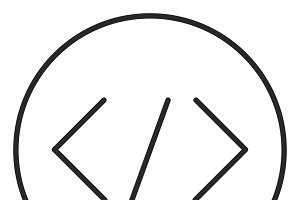 Coding stroke icon, logo