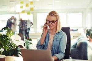 Businesswoman sitting in her office