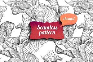 Calla seamless pattern + bonus