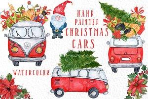 Watercolor Christmas Cars