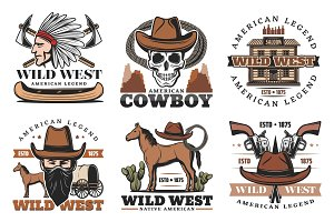 Wild West icons, cowboy and horses