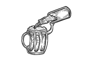 Cup pours beer from bottle vector