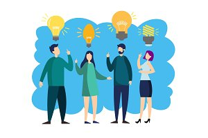 People with idea lamp vector