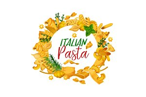Pasta menuwith frame of pastry