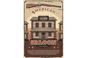 Wild West, American saloon and gun