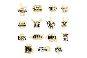 Brewery and beer icons, lettering