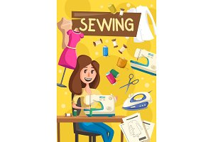 Sewing items and tools, seamstress