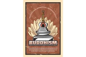 Buddhism religion, stupa and lotus