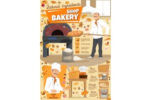 Bakery, baker and pizza