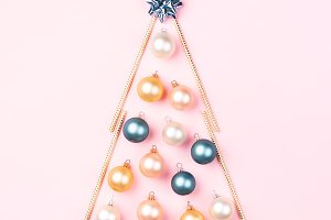 Christmas tree made of boubles