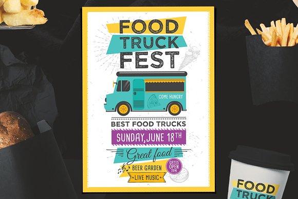 food truck menu poster brochure templates creative market